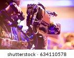 cameraman with headphones with... | Shutterstock . vector #634110578