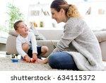 portrait of beautiful young... | Shutterstock . vector #634115372