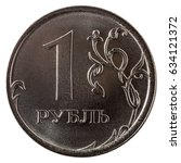 one russian ruble coin isolated ... | Shutterstock . vector #634121372