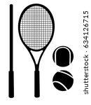 tennis racket ball tennis gear... | Shutterstock .eps vector #634126715