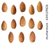 closeup of almonds  isolated on ... | Shutterstock . vector #634129826