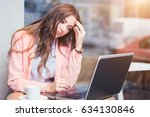 modern and business girl uses a ... | Shutterstock . vector #634130846