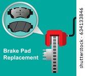 brake pads and caliper disc... | Shutterstock .eps vector #634133846