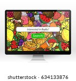 table top monitor summer fruit... | Shutterstock .eps vector #634133876