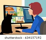 woman looking house for rent | Shutterstock .eps vector #634157192