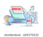 cloud data storage. syncing... | Shutterstock .eps vector #634170122