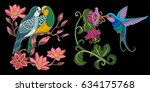 embroidery bird designs.... | Shutterstock .eps vector #634175768