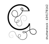 calligraphic letter c with... | Shutterstock .eps vector #634178162