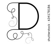 calligraphic letter d with... | Shutterstock .eps vector #634178186