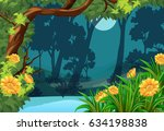 forest scene with flowers and... | Shutterstock .eps vector #634198838