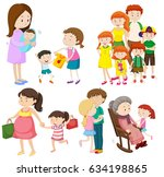 people in family at different... | Shutterstock .eps vector #634198865