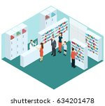 colorful isometric pharmacy... | Shutterstock .eps vector #634201478