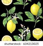 seamless lemon pattern on black ... | Shutterstock . vector #634213025