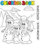coloring book with snowman... | Shutterstock .eps vector #63421846