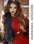 lifestyle fashion portrait of... | Shutterstock . vector #634223282