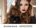 lifestyle fashion portrait of... | Shutterstock . vector #634223342