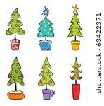 set object    christmas trees | Shutterstock .eps vector #63422371