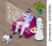 isometric techno robots and man ... | Shutterstock .eps vector #634228382