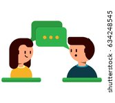man and woman avatars chatting... | Shutterstock .eps vector #634248545