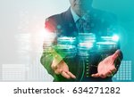 rows of coins for finance and... | Shutterstock . vector #634271282