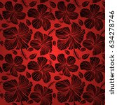 vector hibiscus flower seamless ... | Shutterstock .eps vector #634278746