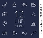set of 12 outdoor outline icons ...
