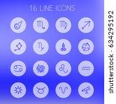 set of 16 astronomy outline...   Shutterstock .eps vector #634295192