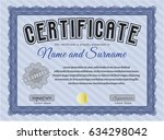blue certificate or diploma... | Shutterstock .eps vector #634298042