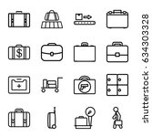 suitcase icons set. set of 16... | Shutterstock .eps vector #634303328