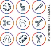 haircut icons set. set of 9... | Shutterstock .eps vector #634323662