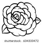 flower rose  black and white.... | Shutterstock .eps vector #634333472