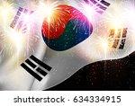 korea national flag fireworks... | Shutterstock .eps vector #634334915