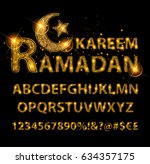 beautiful golden letters and... | Shutterstock .eps vector #634357175