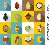 nuts icons set. flat... | Shutterstock . vector #634361492