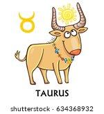 zodiac sign taurus. fantastic... | Shutterstock .eps vector #634368932