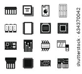 computer chips icons set.... | Shutterstock . vector #634370042