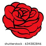 red rose isolated on white... | Shutterstock .eps vector #634382846