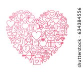 valentine day line icon heart... | Shutterstock .eps vector #634384556