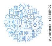 medicine line icon circle... | Shutterstock .eps vector #634385402