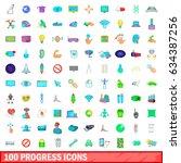 100 progress icons set in... | Shutterstock . vector #634387256
