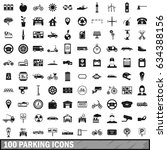 100 parking icons set in simple ... | Shutterstock . vector #634388156
