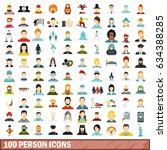 100 person icons set in flat... | Shutterstock . vector #634388285