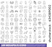100 megapolis icons set in... | Shutterstock . vector #634389002
