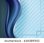 blue and metallic wavy abstract ... | Shutterstock .eps vector #634389542