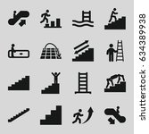 staircase icons set. set of 16... | Shutterstock .eps vector #634389938