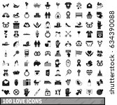 100 love icons set in simple... | Shutterstock . vector #634390088