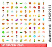 100 grocery icons set in... | Shutterstock . vector #634390595