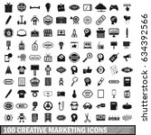 100 creative marketing icons... | Shutterstock . vector #634392566