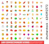 100 confectionery icons set in... | Shutterstock . vector #634392572