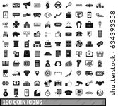 100 coin icons set in simple... | Shutterstock . vector #634393358